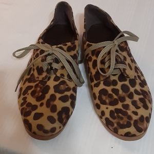 Suede like animal print lace up shoes